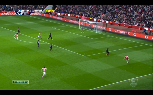 Özil stretched the Liverpool defence with his ball to Ramsey, which dragged Sakho out. Moreno left too big a gap between himself and his teammate, and Bellerín exploited it superbly.