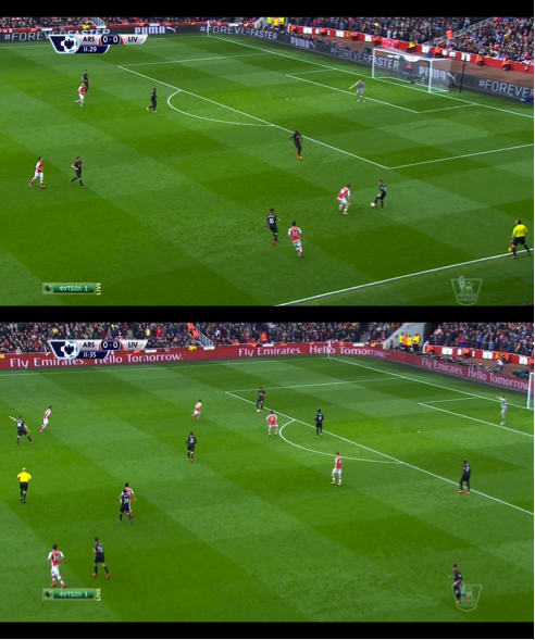 Aaron Ramsey was stationed between Moreno and Sakho. Pressing them both, Arsenal constantly won the ball back with Liverpool unable to threaten.