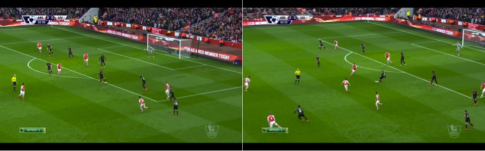Arsenal forced Liverpool into risky passes before capitalising. This pressure on Lucas led to Santi Cazorla's chance.