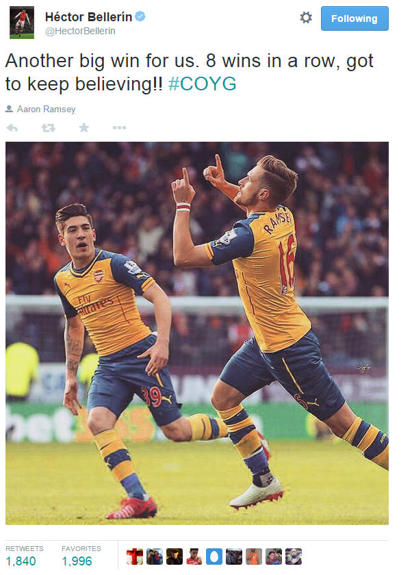 bellerin tweet