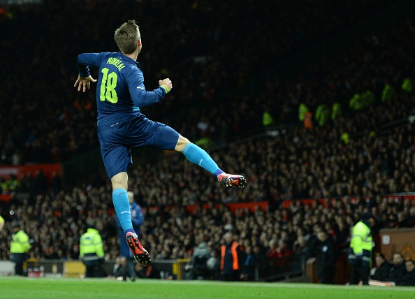 Nacho Monreal celebrates scoring against Manchester United