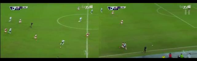 Gerard Deulofeu races away from Cazorla as Everton hit Arsenal on the break.