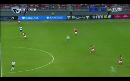 Santi Cazorla takes up a position on top of Arsenal's back four to play out from defence.