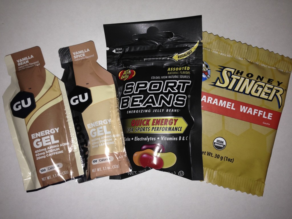 Athletes now use a combination of sweets and gels such as these to replenish carbohydrates and electrolytes in hot weather.